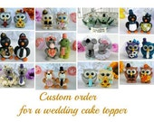 RESERVED for KRYSTAL - raccoon bride and groom wolf cake topper