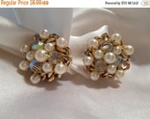 40% OFF SALE Mid Century Clip Style Button Bead Earrings Signed Japan