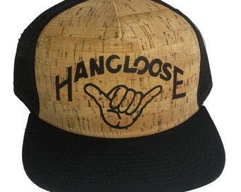 Flat Brim Cork HANG LOOSE Snapback Mesh Trucker Hat Cap Flat Brim