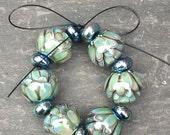 Silver Glass Lotus Lampwork Bead Set