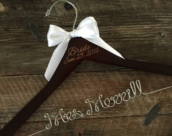 Wedding Hanger, Brides Hanger, Bridal Hanger, Wedding Date Hanger, Vintage Wedding, Rustic Wedding Hanger, Personalized Hanger, Name Hanger