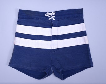 60s Boat Shorts Blue and White High Waisted Lace Up Cotton Shorts