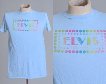 70s Elvis The King Rock N Roll Powder Blue T Shirt