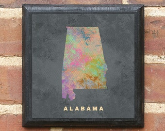 Alabama AL Splatter Watercolor Painting Effect Vintage Style Wall Art Plaque Sign Home Decor Art Gift Present Birmingham Montgomery Classic
