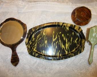 Antique Celluloid Dresser Set..Faux Tortoise..Beveled Mirror, Tray, Brush, Hair Receiver