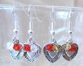 Silver Plated Detailed Heart & Crystals Handcrafted Dangle Earrings, Handmade Original Fashion Jewelry, Romance Love Valentine Ladies Gift
