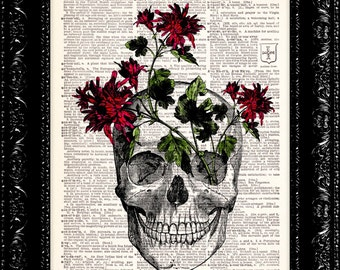 Red Flower Skull - Vintage Dictionary Art Print Vintage Book Print Page Art Upcycled Vintage Book Art