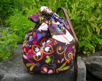 Bird Project Bag. Small Drawstring bag ideal for knitting or crochet projects