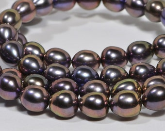 """Brown Pearl 8x7.5mm 8"""" inch Strand Cultured Pearl Beads Jewelry Making Supplies"""