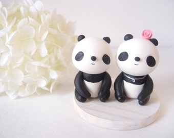 Custom Wedding Cake Toppers - Sweet Panda with base
