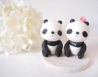 Custom Wedding Cake Toppers - Sweet Panda with base