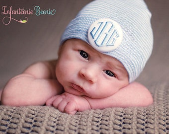Newborn Hospital Hat Boy.  Newborn Hat Boy.  Boy Newborn Hat.  1 or 3 initials to custom monogram your baby boy newborn hospital hat.