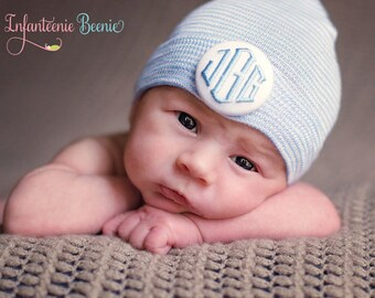 CPSIA approved. Choose either 1 or 3 initials to custom monogram your baby boy newborn hospital hat.  A newborn baby boy monogrammed hat.