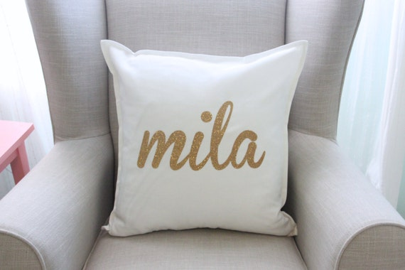 Personalized Gold Glitter Pillow Cover in White - Nursery Bedding - Baby Gift - Baby Girl - Play Room - Nursery Decor - by Couture Flower