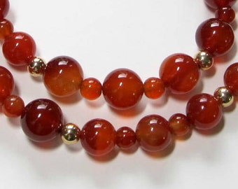 Carnelian Beaded Necklace, 14K Gold Filled,  Semi Precious Gemstones, Elegant