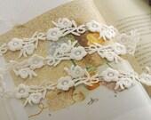 ivory cotton lace trim, trim applique lace  , crochet bridal lace trim, 2 yards