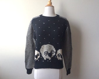 Vintage Sheep Black Wool Sweater