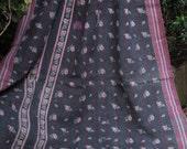 Black Kantha ,Sari throw, Sari Blanket, Black Kantha Blanket, Vintage Kantha quilt, Kantha Throw, Indian Quilt, Coverlet,Heavy Kantha