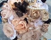Fabric flower wedding bridal bouquet alternative