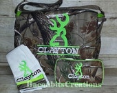 Camo Diaper Bag set with wipe box, and burp cloth
