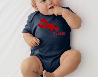 Lobster Bodysuit or T-Shirt Eat Me Onesie Nautical Outfit Preppy Baby Outfit Maine Collection