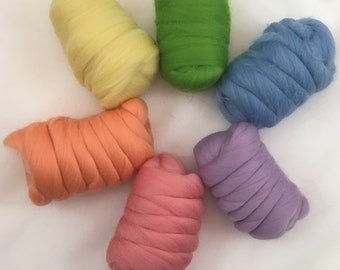 Pastel merino roving, combed top, kit for spinning or felting
