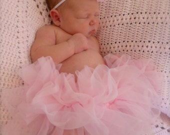 Precious Parley Ray Pink Chiffon All Around Ruffle Skirt Ruffled Baby Bloomers/ Diaper Cover/ Photo Props