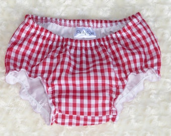 Parley Ray Boy or Girl Red & White Gingham Picnic Bloomers / Diaper Cover