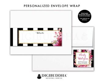 ENVELOPE WRAP LABELS Envelope Wrap Address Label Stickers Wrap Around Envelope Label Return Address Label Ready Made Printed Label - Christy