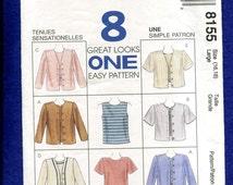 McCalls 8155 Tank & Tee Shirt Bolero Jackets Pattern Sizes Large 16/18 UNCUT
