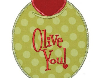 Olive You Applique Embroidered Patch, Sew or Iron on