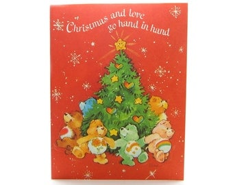 Christmas Care Bears Card Vintage Holiday Greeting Card with Bears and Tree