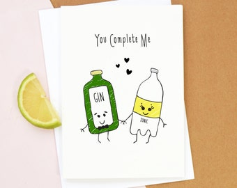 Gin Valentines Card, Gin Card, Gin, Valentines Card, Valentines Day Card, Love, Illustration, Gin & Tonic, Funny Valentines Card, Valentine