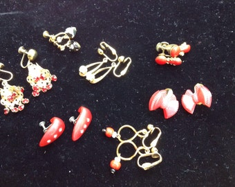Destash lot 7 pair vintage earrings, mostly red