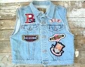 Vintage Denim Vest, button up, sleeveless, BUM Equipment, made in Hong Kong, patches, Large