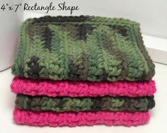 Camouflage & Pink Cotton Dishcloths - American Grown Cotton: Set of 4 - Gifts Under 15