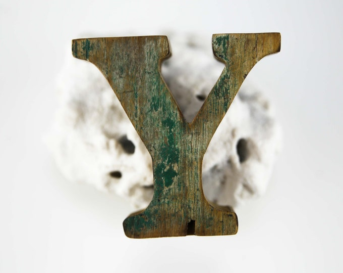 "Beach Decor Wooden LETTER ""Y"" Vintage Style Nautical by SEASTYLE"