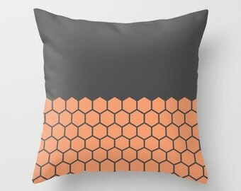 9 colours, Peach Rose, Hexagon Honeycomb Half Pattern Pillow and Insert, Geometric pillow, Indoor or Outdoor pillow cover