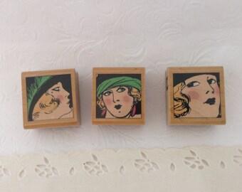 Hampton Art Stamps - Jill Meyer designer - 4580 - Brandy, Brenda,  & Bree - bargain wood mounted stamps - cardmaking - altered art