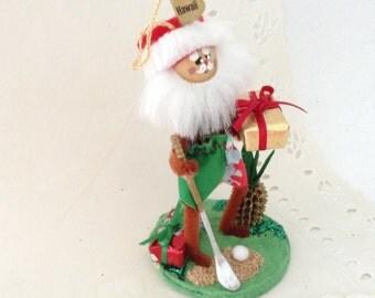 Hawaiian Christmas Ornament - Hawaiian Santa - Golfing Santa - Golfer Gift - Hawaii St Nick - Mele Kalikimaka - gift idea Christmas ornament