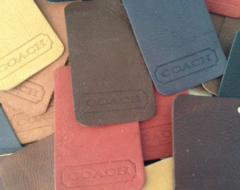 Leather samples - Coach - Pure Aniline - leather crafting - mixed colors - 70 pieces of high quality leather