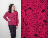 Red CLOCK Sweater 90s Funky Time Jumper // Mohair Blend Pullover