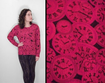 Red CLOCK Sweater 1990s Funky Time Jumper Mohair Pullover