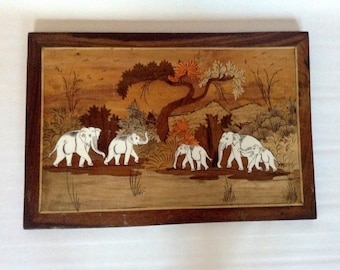 Marquetry Elephant Wall Panel