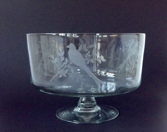 Vintage Etched Glass Punch Bowl,Bird Motif