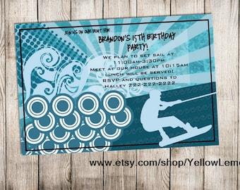Teen wakeboarding summer birthday invitation (digital file only)