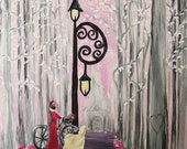 Original art, original painting, pink paris, afghan hound, bicycle, fantasy art, savannah georgia