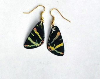 Moth Wing Earrings, Handmade Jewelry, Fish Hook Earrings, 14k Gold, Hypoallergenic or Sterling Silver Multi Color Earrings