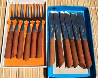 """Vintage 50's """"LITTLE FORK BRAND"""" 12 Piece Set - Forks & Spreaders- Party Servers"""
