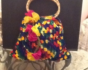 Hand crocheted tote bag, Mexicana.